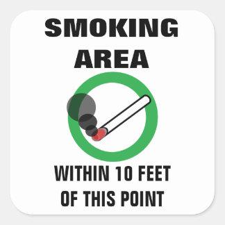 Smoking Area Sign Square Sticker
