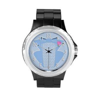 Smoking azul rizado de los años 70 reloj de mano