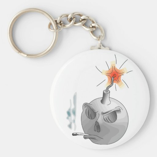 Smoking bomb basic round button keychain