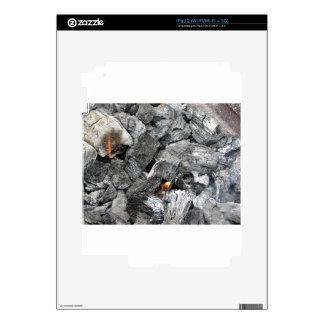 Smoking burning charcoal iPad 2 decals