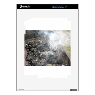 Smoking burning charcoal on barbecue iPad 2 skins