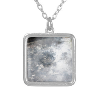 Smoking burning charcoal on barbecue square pendant necklace