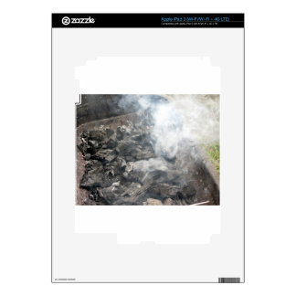 Smoking burning charcoal on barbecue skin for iPad 3