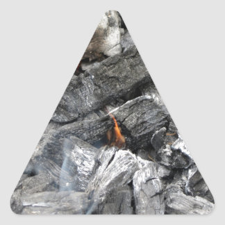Smoking burning charcoal triangle sticker