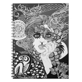 Smoking carnival woman black and white notebook