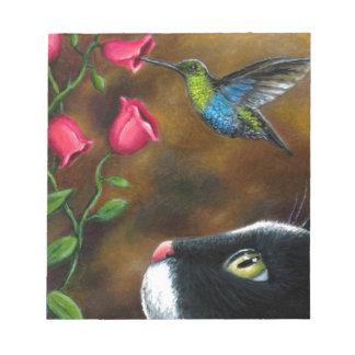 Smoking del gato 571 con el colibrí libreta para notas
