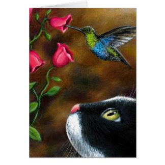 Smoking del gato 571 con el colibrí tarjeta de felicitación