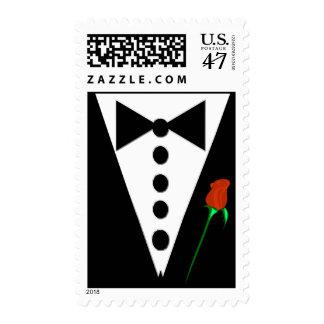 Smoking del lazo negro y pajarita timbre postal