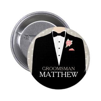 Smoking del padrino de boda nombrado casando el bo pins