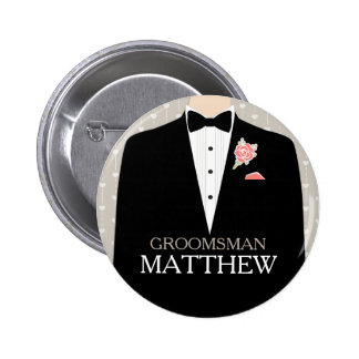 Smoking del padrino de boda nombrado casando el bo pin redondo 5 cm