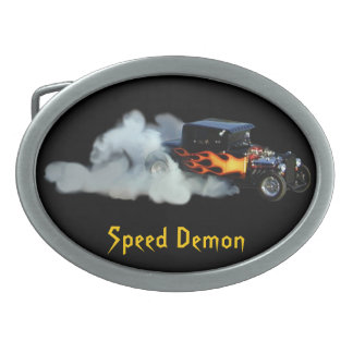 Smoking Flaming Drag Car Speedway Drivers Buckle Oval Belt Buckle