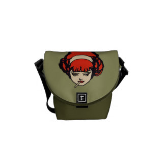 Smoking French Redhead Green Courier Bag