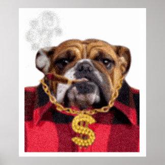 Smoking Gangsta Bulldog Poster