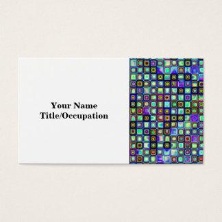Smoking Green Funky Retro Mosaic Tiles Pattern Business Card
