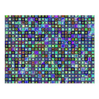 Smoking Green Funky Retro Mosaic Tiles Pattern Postcard