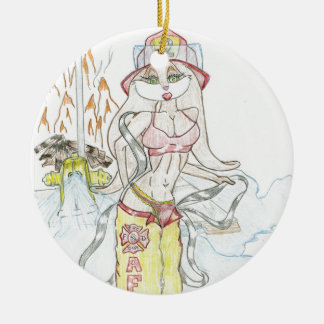 Smoking hot Fire fighting bunny.jpg Ceramic Ornament