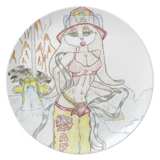 Smoking hot Fire fighting bunny.jpg Party Plates