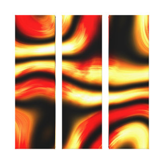 Smoking Hot Lava Molten Fire Trails On Black Stretched Canvas Prints