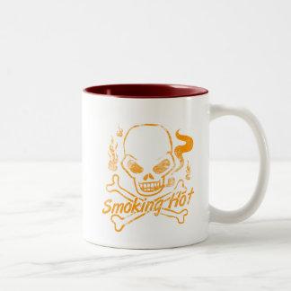 Smoking Hot Skull Two-Tone Coffee Mug