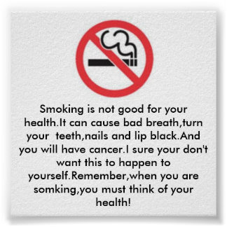 Smoking is not good for health poster