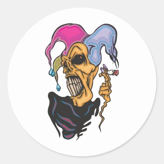 Smoking Joker Classic Round Sticker