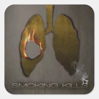 Smoking Kills Lungs Square Sticker