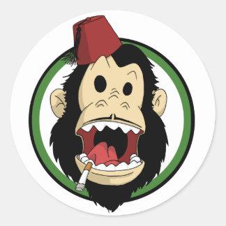smoking monkey classic round sticker