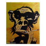 Smoking Monkey Poster by NJPunks