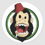 smoking monkey round stickers