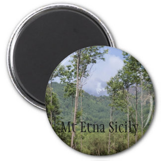 Smoking Mt Etna Through the Trees Magnet