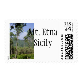 Smoking Mt Etna Through the Trees Stamp