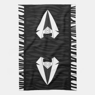 Smoking negro/blanco toalla de cocina