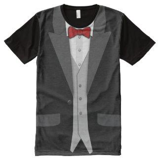 Smoking negro Bowtie rojo y chaleco Playeras Con Estampado Integral