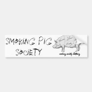 """Smoking Pig Society"" Bumper Sticker"
