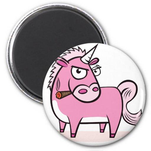 Smoking Pink Unicorn 2 Inch Round Magnet