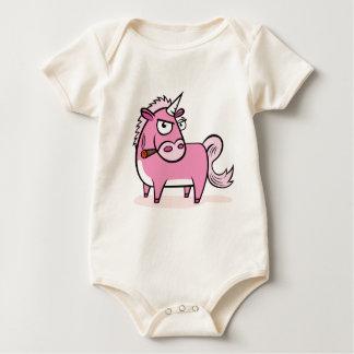 Smoking Pink Unicorn Baby Bodysuit