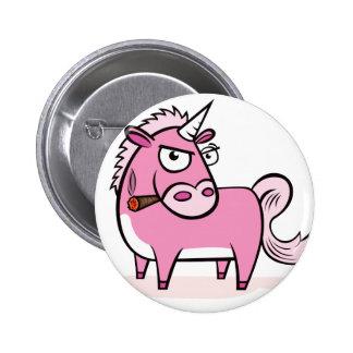 Smoking Pink Unicorn Pinback Buttons