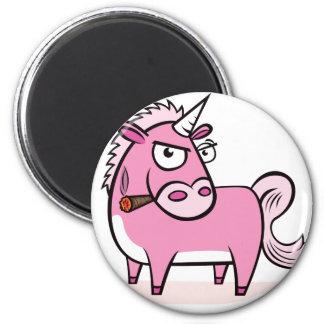Smoking Pink Unicorn Magnet
