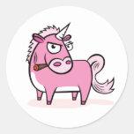 Smoking Pink Unicorn Round Stickers