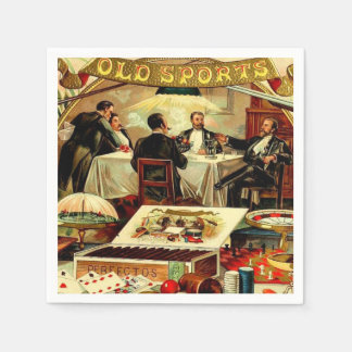 Smoking Poker Bachelor Party Vintage Cigar Label Paper Napkin