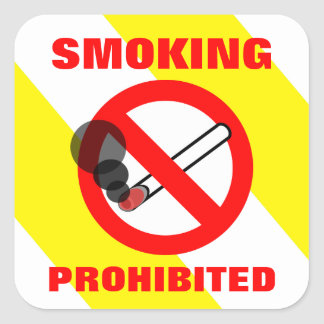 Smoking Prohibited Sign Square Sticker