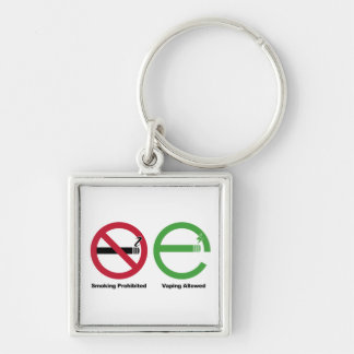 Smoking Prohibited. Vaping Allowed Silver-Colored Square Keychain