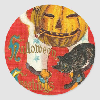 Smoking Pumpkin Halloween Greetings Classic Round Sticker