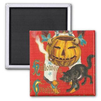 Smoking Pumpkin Halloween Greetings Magnet