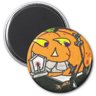 smoking pumpkin magnet