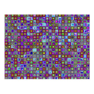 Smoking Purple Funky Retro Mosaic Tiles Pattern Postcard