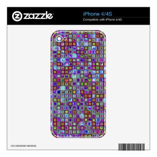 Smoking Purple Funky Retro Mosaic Tiles Pattern Skins For The iPhone 4