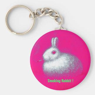 Smoking Rabbit Basic Round Button Keychain