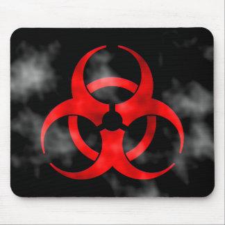 Smoking Red Biohazard Symbol Mousepad