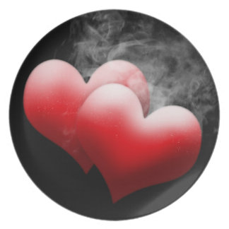 Smoking Red Hearts Plate
